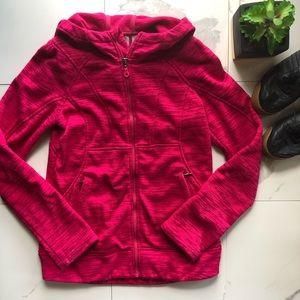 Athleta Pink Fleece Hooded Zip Up Jacket